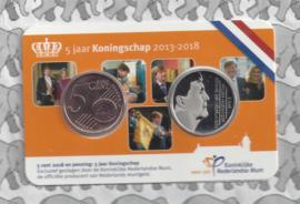 """Nederland coincard 2018 """"5 jaar Koningschap"""". Penning en 5 cent van 2018"""