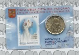 Vaticaan 50 eurocent 2011 in coincard met postzegel, nummer 1