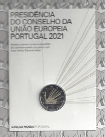 "Portugal 2 euromunt CC 2021 (26e) ""Voorzitter van de EU raad"" BU in blister"