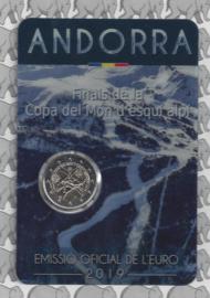 "Andorra 2 euromunt CC 2019 ""Wereld beker finale alpine skiën"", in coincard"