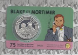 "België 5 euromunt 2021 ""75 jaar Blake en Mortimer"", reliëf BU in coincard"