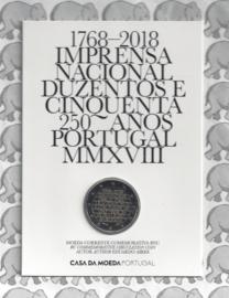 "Portugal 2 euromunt CC 2018 ""250-jarig bestaan van de Nationale Drukkerij"" BU in blister"
