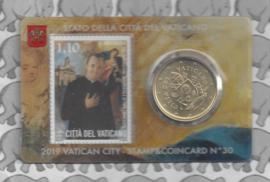 2 x Vaticaan 50 eurocent 2019 in coincard met postzegel, nummer 30 en 31