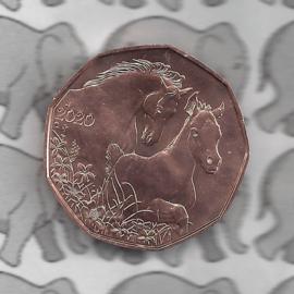 """Oostenrijk 5 euromunt 2020 (38e) """"Paarden, vrienden voor het leven"""" (koper)"""