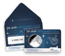 "Nederland 5 euromunt 2019 ""Luchtvaart vijfje"" (41e, 1e dag van uitgifte coincard in envelopje)"