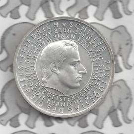"Duitsland 10 euromunt 2005 (20e) ""200e Sterfdag Frierich van Schiller"" (nikkel)."