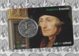 """Nederland 2 euromunt CC 2011 """"Erasmus"""" in coincard 2e versie"""