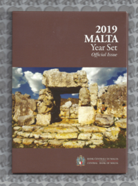 """Malta BU set 2019 """"Ta' Hagrat tempels"""". 2 euromunt met Maltees muntteken (F)."""