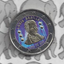 """België 2 euromunt CC 2009 """"Braille"""" (kleur 2)"""