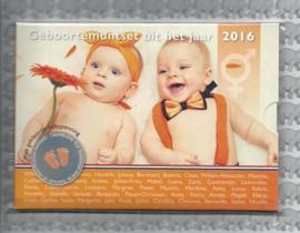 Nederland BU babyset 2016, met gekleurde penning