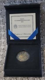 """Malta 2 euromunt CC 2014 """"Onafhankelijkheid van Groot-Brittannië in 1964"""" (proof in doosje)"""