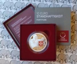 """Oostenrijk 10 euromunt 2020 (38e) """"standvastigheid"""". Proof, zilver in doosje met certificaat."""