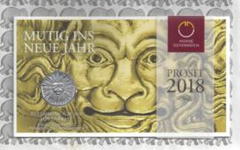 """Oostenrijk 5 euromunt 2018 (33e) """"Leeuwenkracht, moedig het nieuwe jaar in"""" (zilver in blister)"""