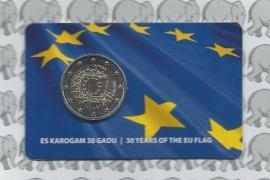 """Letland 2 euro CC 2015 """"30 jaar Europese vlag"""" (in coincard)"""
