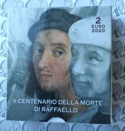 """Vaticaan 2 euromunt CC 2020 """"500e Sterfdag van Rafaël"""", proof in doosje met certificaat"""