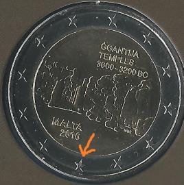 "Malta 2 euromunt CC 2016 ""Megalithische tempels van Ggantija"" 2 euromunt, met Maltees muntteken (F)."