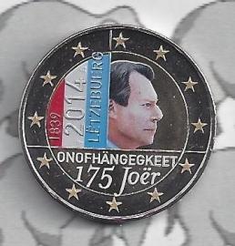 """Luxemburg 2 euromunt CC 2014 """"175e verjaardag van de onafhankelijkheid van het Groothertogdom Luxemburg"""" (kleur)"""