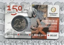 "België 2 euromunt CC 2014 ""150 jaar Rode kruis"" in coincard Nederlandse versie"