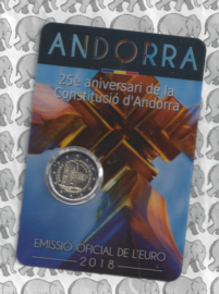 "Andorra 2 euromunt CC 2018 ""25 jaar grondwet"", in coincard"