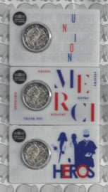 """Frankrijk 3 x 2 euromunt CC 2020 (24e) """"Medisch onderzoek"""", in 3 verschillende coincards"""