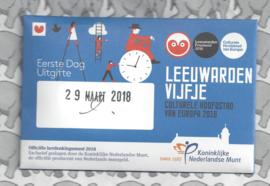 "Nederland 5 euromunt 2018 ""Leeuwarden vijfje"" (1e dag van uitgifte coincard in envelopje)"