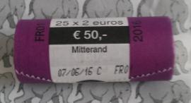 "Frankrijk rol 2 euromunten CC 2016 ""Francois Mitterrand"". (Naam verkeerd geschreven 1 ""r"" ipv 2)"