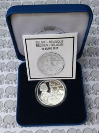 """België 10 euromunt 2017 """"Tijl Uilenspiegel"""", proof, zilver in blauw doosje met certificaat."""