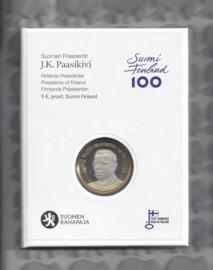 """Finland 5 euromunt 2017 """"Presidenten, Juho Kusti Paasikivi"""" (58e), proof in doosje"""""""