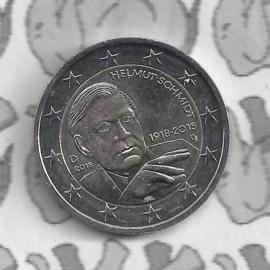 """Duitsland 2 euromunt CC 2018 """"100ste verjaardag van Helmut Schmidt"""" (letter D)"""