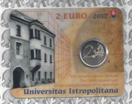 "Slowakije 2 euromunt CC 2017 ""550e verjaardag vd stichting vd Universiteit Istropolitana"" (in coincard)"
