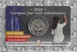 "België 2 euromunt CC 2015 ""Europees jaar voor ontwikkeling"" in coincard Nederlandse versie"