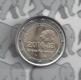 """België 2 euromunt CC 2014 """"100 jaar sinds het begin van de Eerste Wereldoorlog"""""""