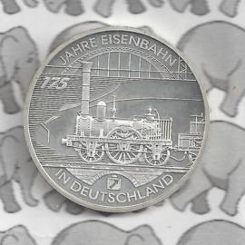 """Duitsland 10 euromunt 2010 (49e) """"175 Jaar Spoorweg in Duitsland"""" (nikkel)."""