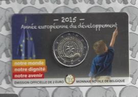 """België 2 euromunt CC 2015 """"Europees jaar voor ontwikkeling"""" in coincard Franse versie"""