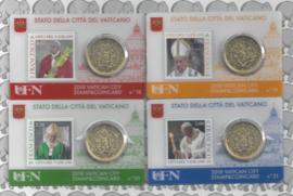4 x Vaticaan 50 eurocent 2018 in coincard met postzegel, nummer 18, 19, 20 en 21