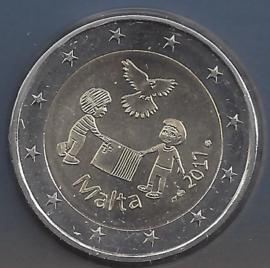 "Malta 2 euromunt CC 2017 ""Vrede"", met muntteken Monnaie de Paris."