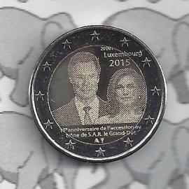 """Luxemburg 2 euromunt CC 2015 (17e) """"15 jaar sinds de troonbestijging door groothertog Henri"""""""