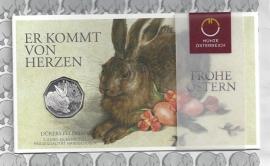"""Oostenrijk 5 euromunt 2016 (30e) """"Veldhaas van Dürer"""" (zilver in blister)"""