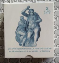 """Vaticaan 2 euromunt CC 2019 """"25e verjaardag van de restauratie van de Sixtijnse Kapel"""", proof in doosje met certificaat"""