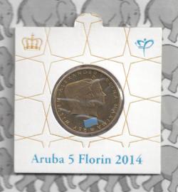 "Aruba munthouder  5 florin 2014 ""1 jaar Koningsschap"""