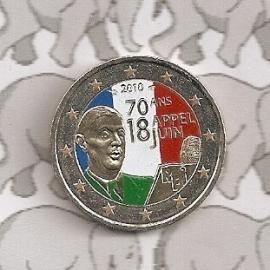 """Frankrijk 2 euromunt CC 2010 """"De Gaulle"""" (kleur 1)"""