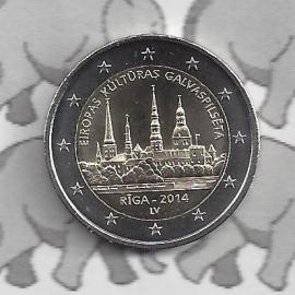 """Letland 2 euromunt CC 2014 """"Riga — culturele hoofdstad van Europa voor 2014"""""""