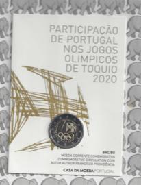 "Portugal 2 euromunt CC 2021 (27e) ""Deelname Olympische Zomerspelen van Tokio"" BU in blister"