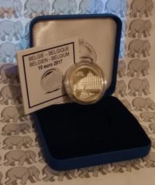 """België 10 euromunt 2017 """"Centraal station van Antwerpen"""", proof, zilver in blauw doosje met certificaat."""