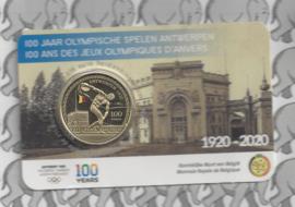 """België 2,5 euromunt 2020 """"100 jaar Olympische Spelen Antwerpen"""", kleur BU in coincard"""