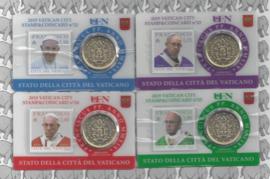 Vaticaan 4x 50 eurocent 2019 in coincard met postzegel, nummer 22, 23, 24 en 25