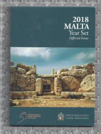 "Malta BU set 2018 ""Megalithische tempels van Mnajdra"". 2 euromunt met Maltees muntteken (F)."
