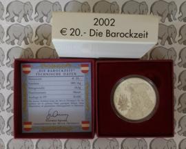 """Oostenrijk 20 euromunt 2002 """"Die Barockzeit"""""""