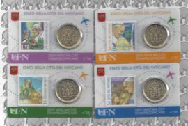4 x Vaticaan 50 eurocent 2019 in coincard met postzegel, nummer 26, 27, 28 en 29