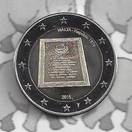 """Malta 2 euromunt CC 2015 """"Malta als zelfstandige republiek in 1974"""" met muntmeesterteken."""